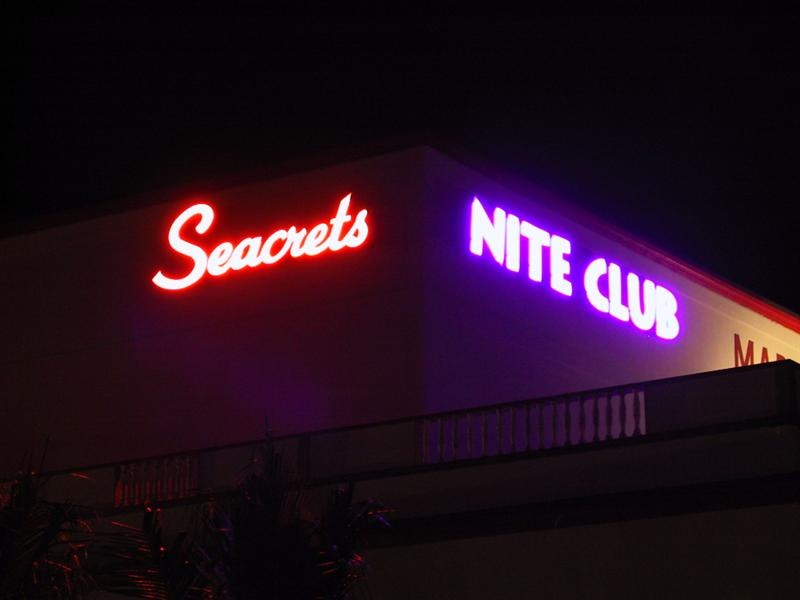 a sign for seacrets nite club