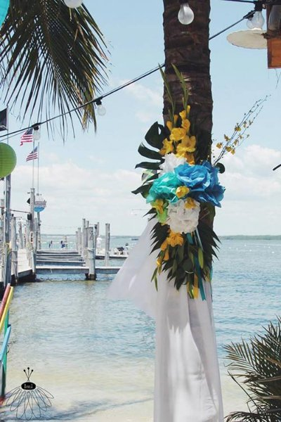 flowers and white linen tree decorations