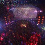 confetti steams down onto nightclub partiers