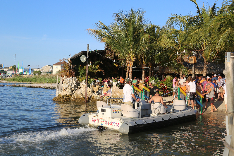 the seacrets party shuttle boat