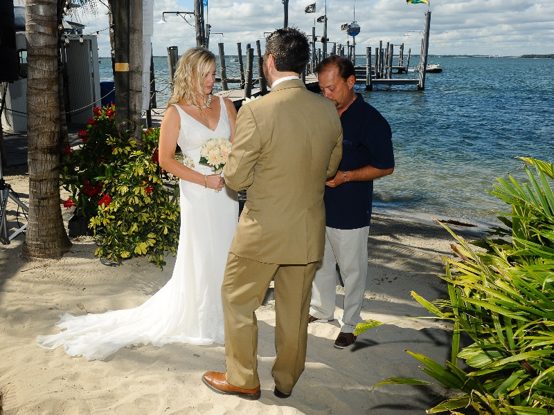 Bride And Groom At A Waterfront Wedding