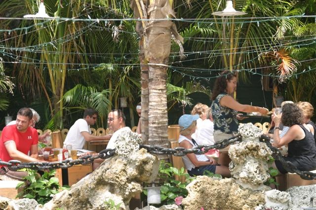 men and women enjoy food under the shade of palm trees