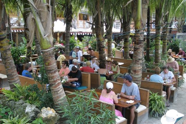 people eat lunch under palm trees in the sand