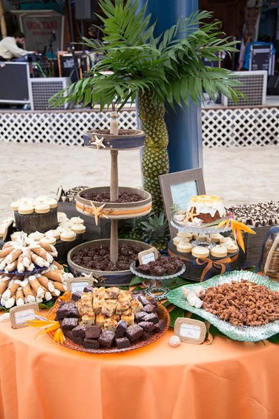 a table of sweets with chocolate and cupcakes
