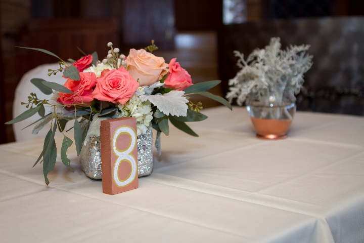 table decorations at a wedding