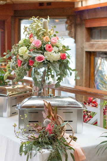 silver hot trays with wedding decorations